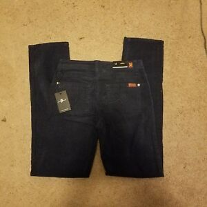 NWT 7 for All Mankind Navy Blue Slimmy Corduroy Pants Boys Size 14!