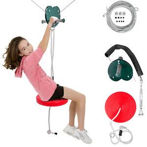 Zipline Kit 100ft Zip Line Kit Toys with Seat Trolley Stainless Steel kids