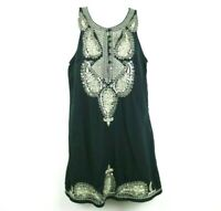 Free People Size XS Womens Dress Sleeveless Sequins Buttons Paisley Black Gold