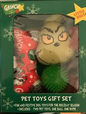 Dr. Seuss Grinch Pet Small Dog Toy Gift Set Grinch bone rope ball toys NEW