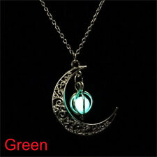Fairy Glow In The Dark Luminous Moon&Pumpkin Pendant Necklace Silver Jewellery