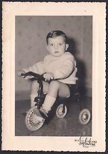 YZ0735 Bimbo sul triciclo - Fotografia d'epoca - old photo - Saglimbene - Torino