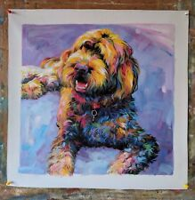 Hand Painted Commission Dog Oil Painting From Photo , Custom Colorful Pet Art
