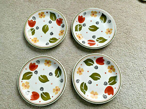 """4 Pier 1 One ALESSIA 10"""" Plates Primula Italy Hand Painted Tulip Flower LEAVES"""