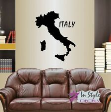 Vinyl Decal Map of Italy Country Europe Italian Art Wall Sticker Decor 1391