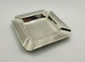 1950s Sterling Silver Ashtray Vintage Machine Turned Square Art Deco Style
