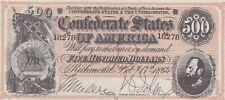 UNITED STATES Confederate $500 1864 US Currency Forged