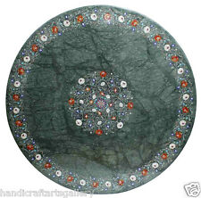 "42"" Green Marble Dining Table Top Mother of Pearl Inlay Floral Art Decor H2317"