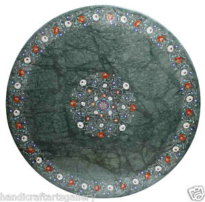"""42"""" Green Marble Dining Table Top Mother of Pearl Inlay Floral Art Decor H2317"""