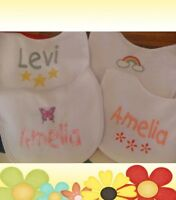 Personalised embroidered Baby bib or toddler bib 4 design any colour/name
