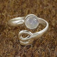 925 Sterling Silver Wonderful Flashy MOONSTONE Ring US SZ 6.5 Fashion Jewelry