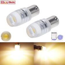 2Pcs BAX9S H6W Car LED Bulbs COB Auto Side Wedge Parker Light Lamp Warm White 6V