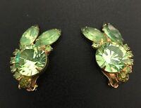Rare! Vintage, Trifari-era Green crystal Playboy Bunny clip on earrings, 1950s