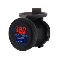 Car USB Charger DC 12V-24V Digital LED Volt Gauge Meter Panel Voltmeter Display