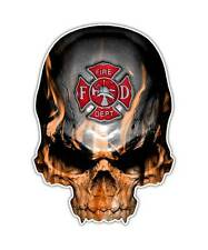 2 Firefighter Skull Decal - Maltese Cross Sticker Fire Department kindle ipad