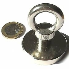 Super Magnete al Neodimio OTN-50 POTENZA 75 Kg CON OCCHIELLO IN ACCIAIO INOX !!!