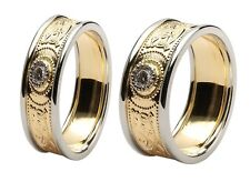 18k Gold Irish handcrafted Celtic Warrior Wedding Ring Set with Diamond inset
