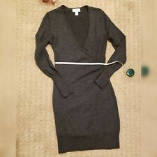 LOFTWomans Merino Wool Dress Small Charcoal Grey Long Sleeve Sweater