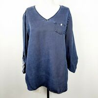 Soft Surroundings Top M Blue Chambray Popover V-Neck Tab-Sleeve Relaxed Tunic