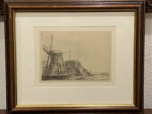 REMBRANDT Restrike Etching THE WINDMILL 6x8 Signed In Plate FRAMED