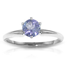 Platinum Plated 925 Sterling Silver Solitaire Ring w/ Natural Tanzanite