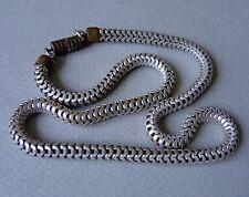 ancien collier ras cou moderniste Art Déco maille serpent alu old necklace