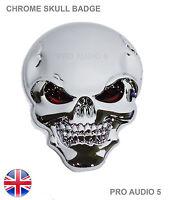 Chrome Skull Wing Body Boot Badge - Bike Car Van Truck 4x4 Ford Vauxhall VW UK
