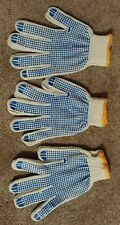 5 Pair Work Gloves Cotton Polyester Knit w/rubberized Grip NEW