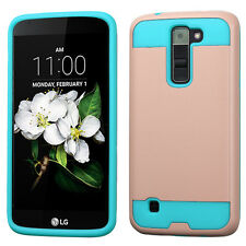LG Treasure Tracfone - ROSE GOLD TEAL BRUSHED METAL HYBRID CASE COVER SKIN ARMOR