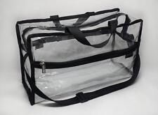 DELUVA BP006 Clear Vinyl Cosmetic Bag 15x9x6 w/handles, organize, makeup, travel