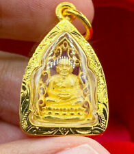 Phra LP Tuad Wat Changhai Gold Case 96.5% Powerful Thai Buddha Amulet Pendant