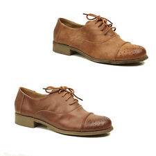 WOMENS CASUAL LACE UP SCHOOL OFFICE OXFORD LOAFERS LADIES SHOES PUMPS SIZE 3-8
