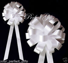 "10 WHITE WEDDING 8"" PULL BOW PEW BRIDAL CAKE DECORATION"