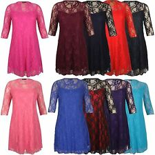 Nylon Party 3/4 Sleeve Plus Size Dresses for Women