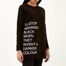 River Island Black Longline Sweatshirt Jumper size 10