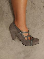 Hush Puppies Ladies Shoes Size 9 NEW Grey Suede mary Jane Block Heel Harriet