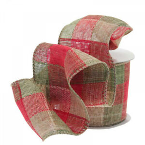 Luxury Red & Green Chequered Christmas Ribbon - 1m length