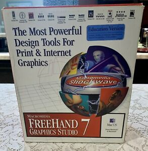 Vintage MacroMedia Freehand 7 Graphics Studio for Mac OS- Education Version