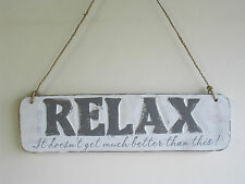 RELAX it doesn't get much better than this! - Wooden Hand Carved Wall Plaque -