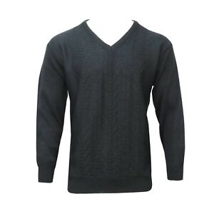Men's Gents Acrylic Wool Menswear Soft Touch V Neck Knitted Jumper Black XL