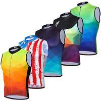 Men's Reflective Biking Vest Top Sleeveless Cycle Cycling Jersey Shirts Full Zip