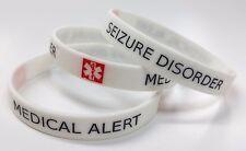 SEIZURE DISORDER Medical Alert Wristband Silicone bracelet