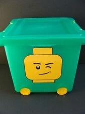 NEW LEGO Wheeled Storage Green Bin Tub Stacking Lid Organizer 21.5qt Basket IRIS