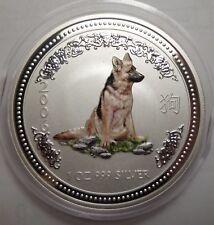 2006 Australian Lunar I Dog Hund 1 oz silver 1 dollar color colour