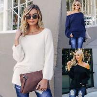 Women Off Shoulder Pullover Knitted Sweater Jumper Long Top Knitwear Shirt 2019
