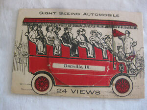 Original Ca 1912 Danville Illinois SIGHT SEEING AUTOMOBILE POSTCARD w/24 Views