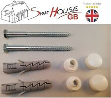 WC TOILET PAN BIDET FIXING KIT SET SCREWS PLUG WASHER WHITE CAP