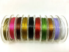 10 colours x 10m rolls Tiger Tail (100m total) - 0.45mm, beading stringing wire