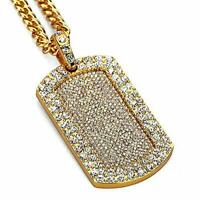 Mens New Iced Out Hip Hop Full CZ Dog Tag Pendant Franco Chain Necklace 24in