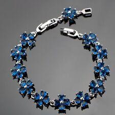 "Flower Blue Sapphire Star Bracelet 925 Sterling Silver Link Chain 7"""